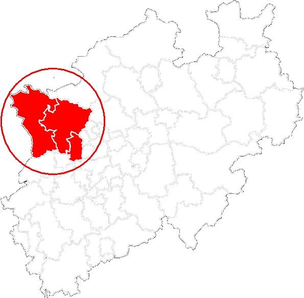 Karte DGB Region Niederrhein