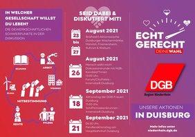 Flyer zu Aktionen des DGB zur Bundestagswahl