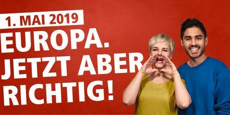 DGB-Mai Logo Europa. Jetzt aber Richtig!