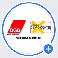 DGB-Region Niederrhein auf Facebook + Logo: Gemeinsam Demokratie stärken
