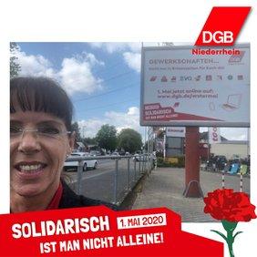 Fotoaktion 1. Mai 2020 Angelika Wagner, DGB-Niederrhein Regionsgeschäftsführerin